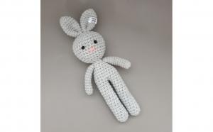 Iepuras crosetat handmade pentru bebelusi, Flippy, gri