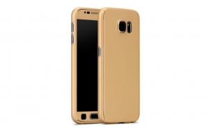 Husa 360 Grade cu Geam Samsung Galaxy S7, Gold