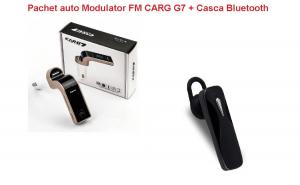 Pachet auto Modulator FM CARG G7 + casca bluetooth