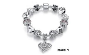 Bratara Charm Shining Heart cu Ag 925, cristale austriece si talismane tematice, 5 modele disponibile, la numai 99 RON/bratara in loc de 290 RON!