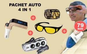 Pachet Auto 4 in 1, Modulator FM HandsFree cu Buletooth CARG7, Aspirator Auto, Ochelari HD Vision de Noapte si Priza Bricheta Tripla