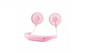 Mini ventilator portabil cu acumulator si alimentare USB, roz