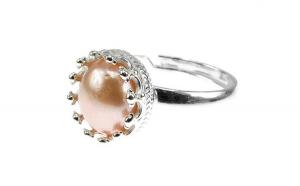 Inel argint reglabil coroana cu perla de cultura oranj 8 MM