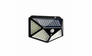 Lampa solara de perete cu 4 fete, senzor de miscare, 100 LED-uri, BK-100