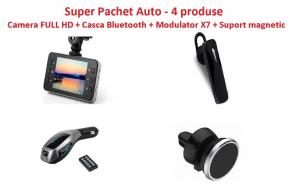 Super Pachet Auto cu 4 produse, camera auto full HD, casca bluetooth, Modulator auto X7, suport magnetic