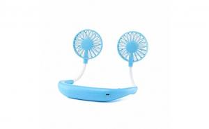 Mini ventilator portabil cu aculumator si alimentare USB, Turcoaz