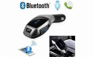 Car Kit Bluetooth X7 - Modulator FM cu telecomanda, slot card si USB