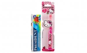 Periuta de dinti Hello Kitty copii 3 ani+ + pasta de dinti President Capsuni