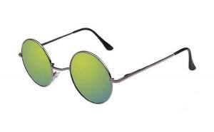 Ochelari de soare Rotunzi Retro John Lennon Verde reflexii cu Argintiu