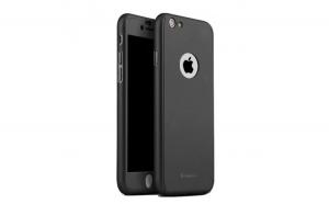 Husa Apple iPhone 6/6S Plus IPAKY Full Cover 360 Negru + Folie Cadou