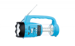 Radio Portabil cu 2 x Lanterne Fepe FP-1350U , MP3 player, USB, SD / TF CARD, Acumulator, Albastru