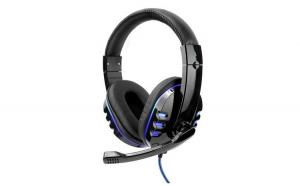Casti gaming cu microfon,LED albastru, Negru, Microfon cu functie de reducere a zgomotului, Pernute din piele