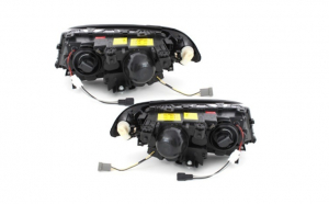 Set 2 faruri compatibil cu BMW E46 Coupe 98-02, pozitie angeleyes, negru