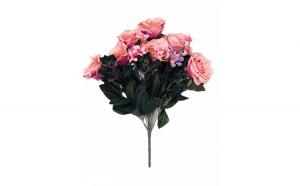 Flori decor artificiale din catifea, roz, Trandafiri, 55 cm