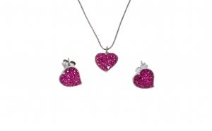 Set, cercei si lant cu pandantiv din argint 925, rodiat, ornamentat cu zirconii roz, Inimioare, SAG180