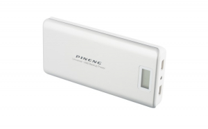 Set Baterie externa portabila Pineng PN-999, 20000 mAh, 5V, 2 porturi USB, afisaj LED, Alb-Gri si Adaptor Priza Centenar