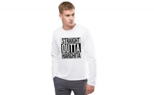 Bluza barbati alba - Straight Outta Harghita