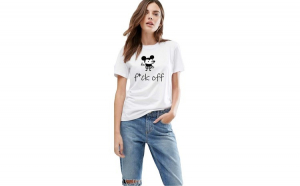 Tricou dama alb - f*ck off Mickey Mouse