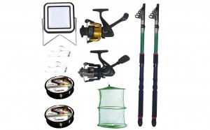 Set pescuit sportiv cu 2 lansete eastshark 2,4m, doua mulinete, proiector solar si accesorii