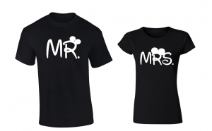Pachet 2 tricouri pentru cuplu Mrs. si Mr.