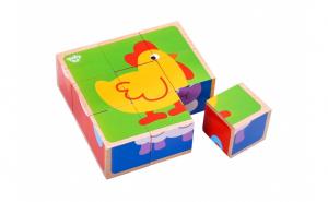 Puzzle cuburi lemn animale,Tooky Toy,TKC261