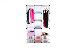Dulap haine  cu 10 compartimente de depozitare si doua bare pentru umerase, din plastic, 145cm x 110 x 36.5cm, Alb, FH-ALO1443-10 white, Vivo