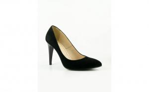 Pantofi stiletto comozi din piele intoarsa neagra cu toc subtire 9cm SPD21698