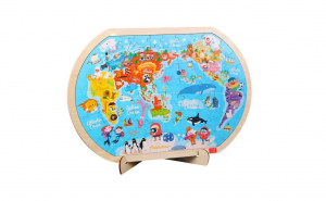 Puzzle educativ lemn Harta Lumii