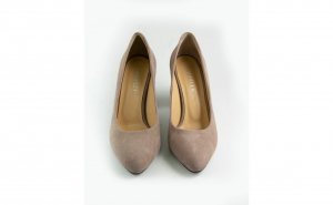 Pantofi stiletto comozi din piele intoarsa roz pal cu toc gros imbracat in piele 9cm SPD94721