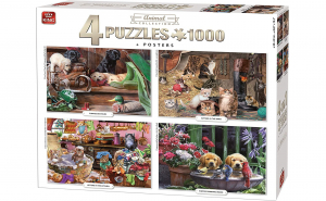 King Puzzle 4 buc * 1000 piese Colectia Animale