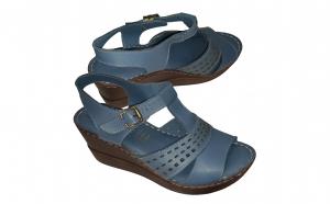 Sandale dama din piele naturala albastru