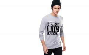 Bluza barbati gri cu text negru - Straight Outta Hunedoara