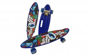 Penny board cu roti de silicon si lumini, Graphic Print, ABEC-7, PU, Aluminiu, HB3011-A