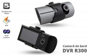 Camera auto R300 HD, Cu dubla Lentila si GPS, Card 16GB Gratuit, la 449 RON in loc de 900 RON