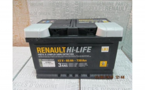 Baterie auto 65 Ah 720 A(EN) 12V Originala Renault 7711130089
