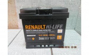 Baterie auto 50 Ah 420 A(EN) 12V Originala Renault 7711238596