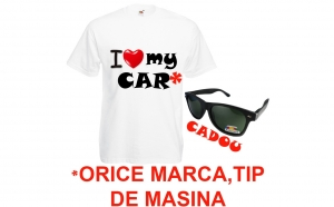 Tricou I LOVE MY CAR orice model + ochelari de soare polarizati CADOU