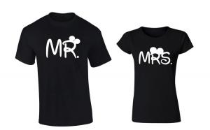 Set de tricouri negre Mr./Mrs Disney