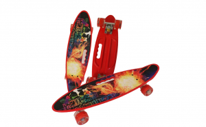 Penny board cu roti de silicon si lumini, Graphic Print, ABEC-7, PU, Aluminiu, HB3011-B