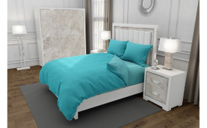 Lenjerie de pat matrimonial cu husa elastic pat si 4 huse perna dreptunghiulara si mix culori, Duo Turquoise, bumbac satinat, gramaj tesatura 120 g mp, Turcoaz Blue, 6 piese