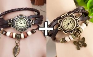 Set 2 Ceasuri de dama Retro Vintage, curea piele naturala, accesoriu, la doar 49 RON in loc de 110 RON