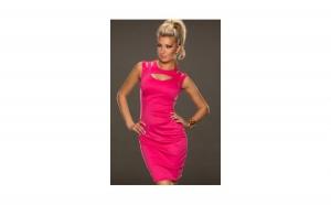 Rochie Pink Fantastic Neck + Ceas Dama Geneva Gold Grid White Gratis, la 129 RON in loc de 259 RON