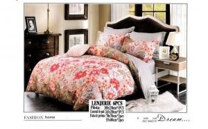 Lenjerie pentru pat dublu cu 2 fete, din finet - 6 piese - model flori rosii