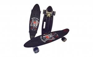Penny board cu roti de silicon si lumini, Graphic Print, ABEC-7, PU, Aluminiu, HB3011-D