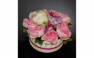 Cutie decorativa cu flori artificiale