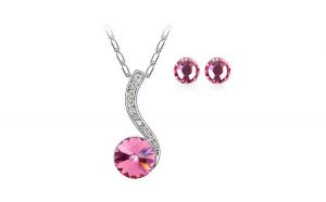 Set bijuterii Adela rose cu cristale,