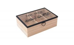 Cutie din lemn pentru depozitarea plicurilor de ceai, 3 compartimente, 24x16x8.5 cm