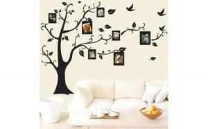 Autocolant Sticker Decorativ pentru Camera sau Living, Copac cu 7 Rame Foto, 120 x 100 cm