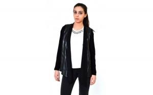 Bluza dama neagra ONE - Insertii piele