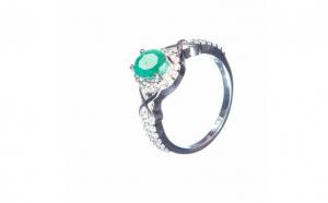 Inel din argint cu smarald, IAG285